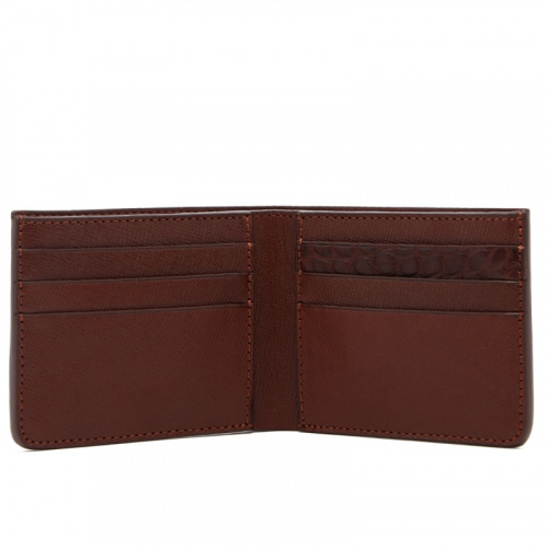Bifold Wallet - Brown / Brown Gator - Hatch Grain Leather  in