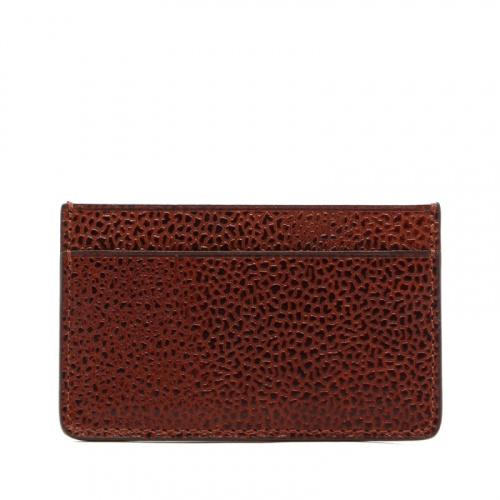 Mini Card Wallet - Dark Chestnut - Scotch Grain Leather  in