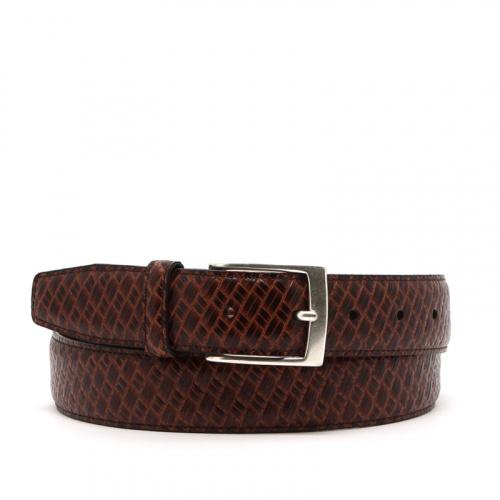 Basket Weave Textured Leather Belt in Basket