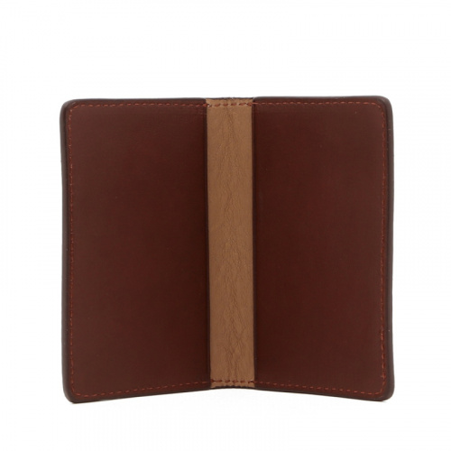 Folding Card Case - Chestnut / Taupe - Tumbled Leather  in