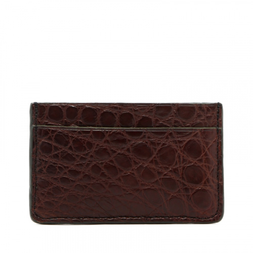 Mini Card Wallet - Chocolate / Hunter Green Edges - Alligator in