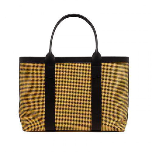Large Working Tote - Yellow/Black - Houndstooth Microsuede in