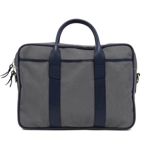 Commuter Briefcase - Light Grey/Navy - Sunbrella Fabric in