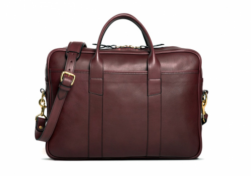 Commuter Briefcase-Burgundy in Smooth Tumbled Leather