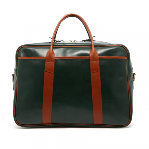 Commuter Duffle - Green/Cognac - Hand Stained Leather in