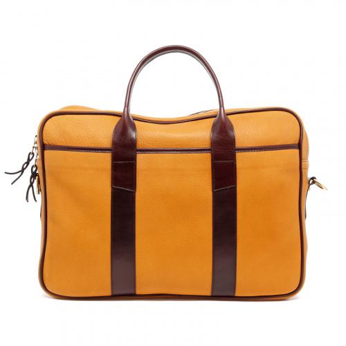 Commuter Briefcase - Dark Ochre/Chocolate - Tumbled Leather  in