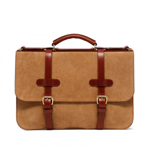 English Briefcase - Sand/Chestnut - Suede/Leather in