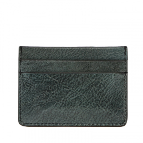 Double Card Wallet - Pine Green - Glossy Tumbled Leather  in