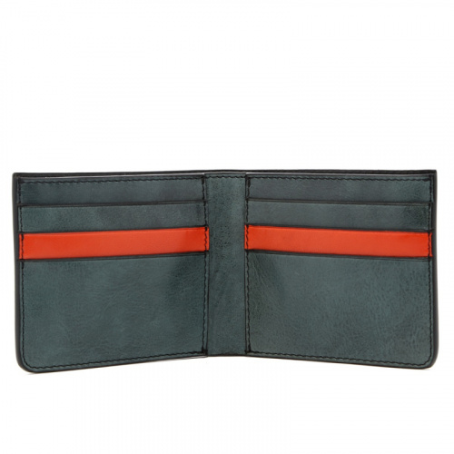 Bifold Wallet - Pine Green / Orange - Glossy Tumbled Leather  in