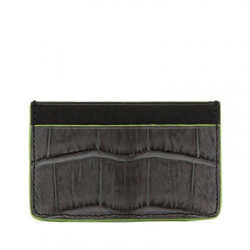 Mini Card Wallet - Grey / Black - Alligator - Lime Green Edges in