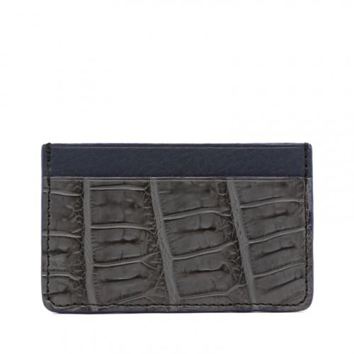 Mini Card Wallet - Grey / Blue - Alligator - Royal Blue Edges in