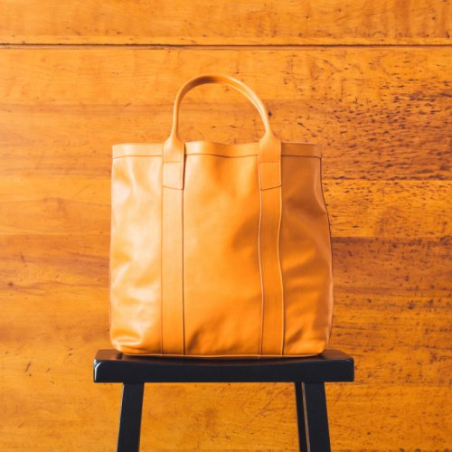 Tall Tote - Honey Mustard - Smooth Tumbled Leather in