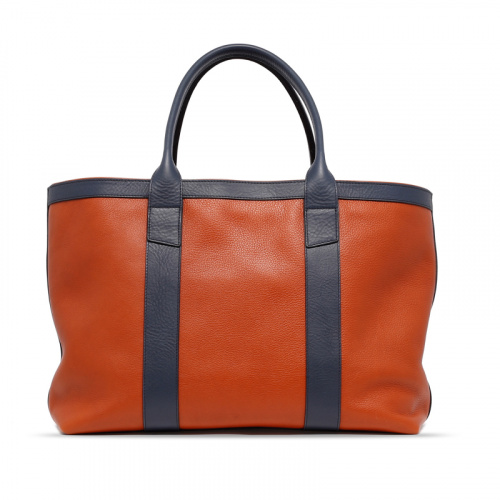 Large Working Tote - Pumpkin/Navy - Tumbled Leather  in