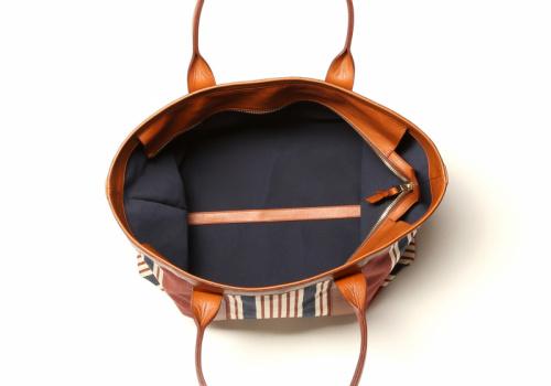 Large Working Tote - Striped Sunbrella/Cognac - Zipper Top in