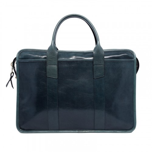 Bound Edge Zip-Top - Pine Green - Glossy Tumbled Leather in