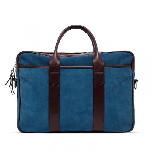 Commuter Briefcase - Blue Grey/Chocolate - Suede in