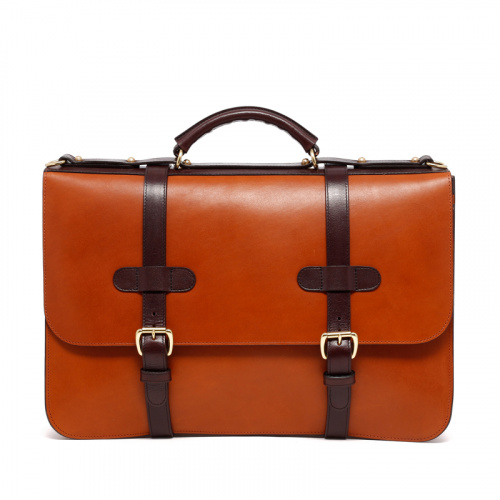 English Briefcase - Cognac/Chocolate - Harness Belting Leather in