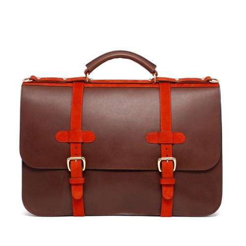 English Briefcase - Matte Chocolate/Burnt Orange - Belting Leather in