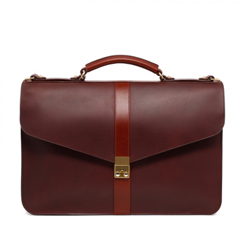 Lock Briefcase - Matte Chocolate/Chestnut - Harness Belting Leather in