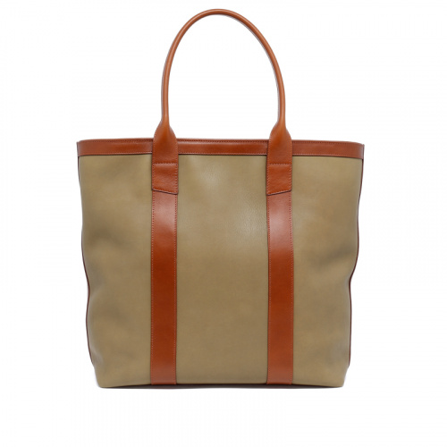 Tall Tote - Moss Green/Cognac - Zip-Top Closure -Tumbled Leather in