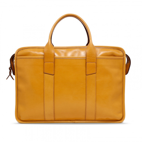 Bound Edge Zip-Top - Ochre - Tumbled Leather in