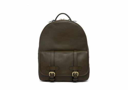 Hampton Zipper Backpack-Olive in Smooth Tumbled Leather