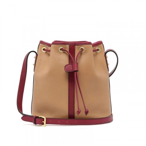 Bucket Bag - Taupe/Berry - Tumbled Leather  in