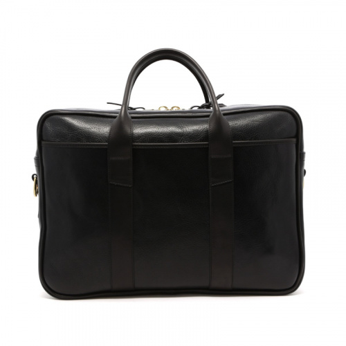 Commuter Briefcase - Black - Light Glossy Leather  in
