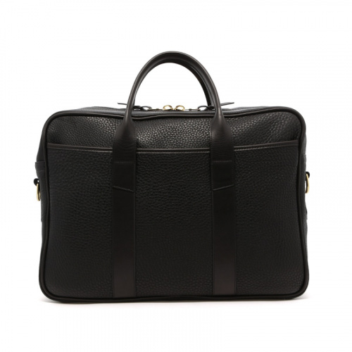 Commuter Briefcase - Black - Pebbled Leather  in