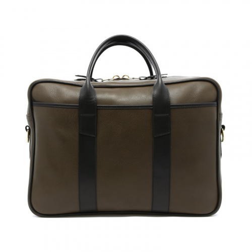 Commuter Briefcase - Olive/Black - Tumbled Leather  in