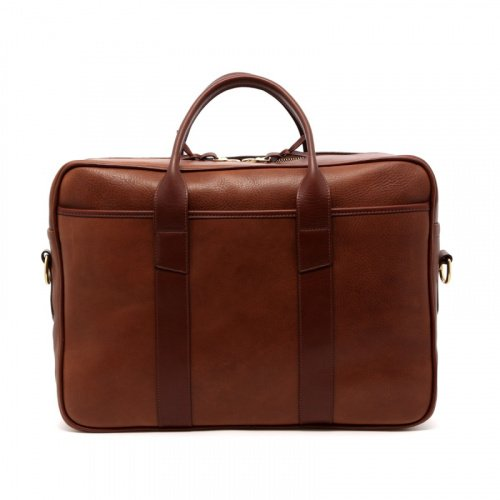 Commuter Briefcase - Walnut - Tumbled Leather in