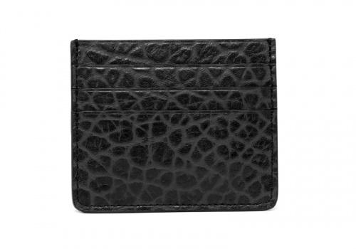 Leather Credit Card Wallet -Black-Triple in Shrunken Grain Leather