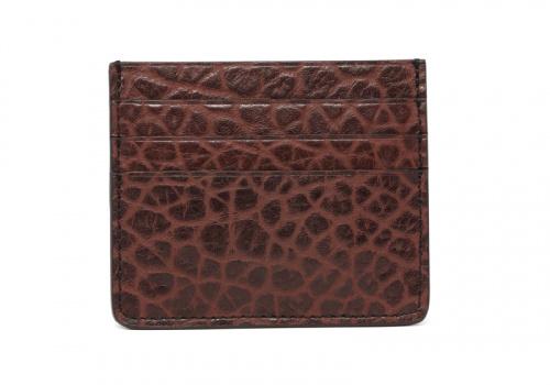 Leather Credit Card Wallet -Chocolate-Triple in Shrunken Grain Leather
