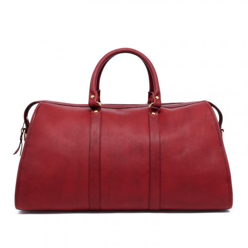 Hampton Duffle - Maroon - Tumbled Leather in