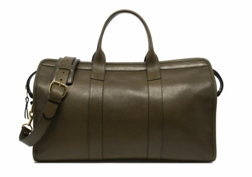 Signature Travel Duffle-Olive-Lined in Smooth Tumbled Leather