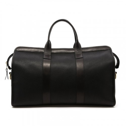 Signature Travel Duffle - Black - Pebbled Leather  in