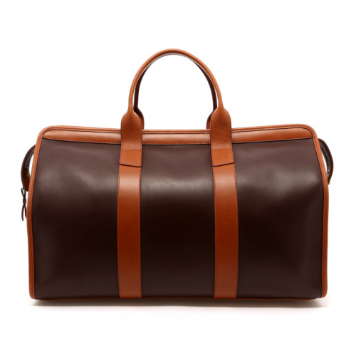 Signature Travel Duffle - Chocolate/Cognac - Belting  Leather  in
