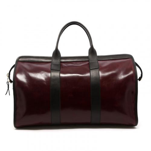 Signature Travel Duffle - Dark Maroon/Black - Glossy Leather  in