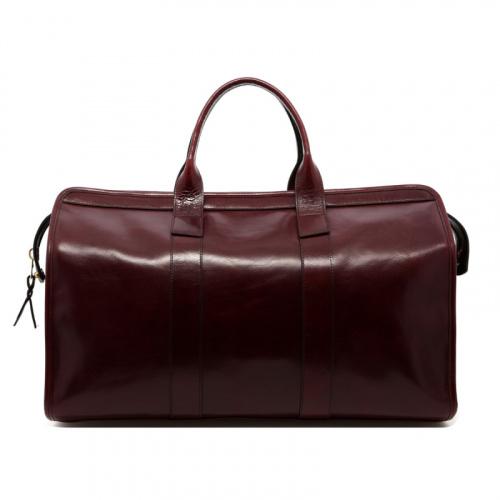 Signature Travel Duffle - Dark Maroon - Glossy Leather  in