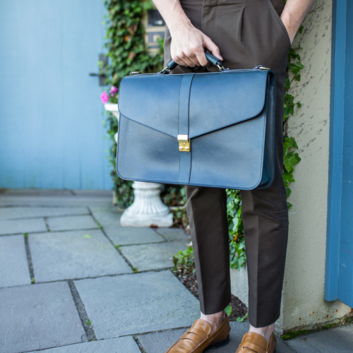 Lock Briefcase in Harness Belting Leather