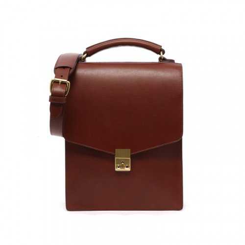Lock Messenger Bag with Handle- Chestnut in