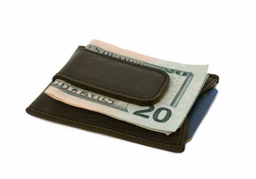 Money Clip Wallet-Olive in Smooth Tumbled Leather