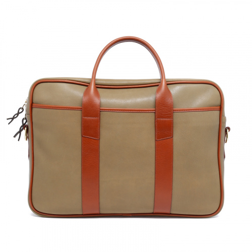 Commuter Briefcase - Moss/Cognac - Tumbled Grain Leather  in