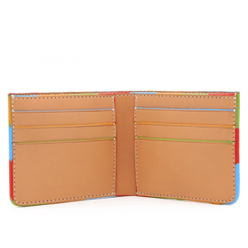 Bifold Wallet - Natural /Multi Color Edges - Harness Leather  in