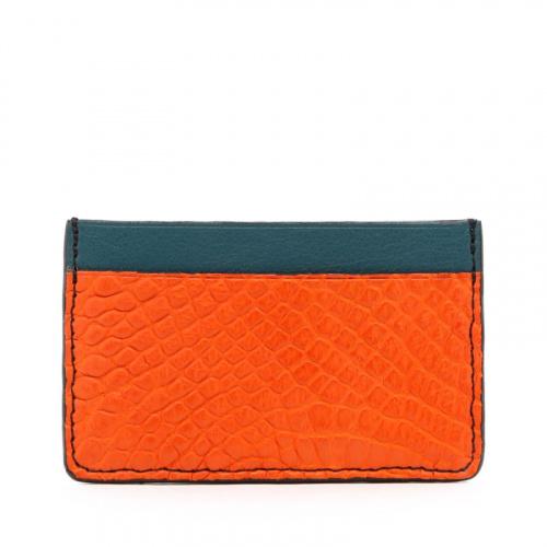 Mini Card Wallet - Orange / Dark Aqua - Alligator - Black Edges in