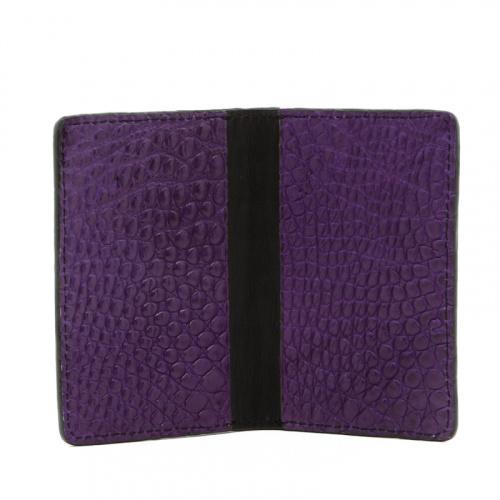 Folding Card Case - Purple / Black - Alligator  in