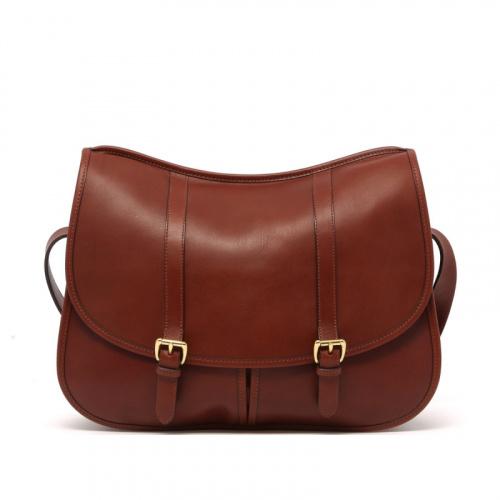 Saddle Messenger - Chestnut - Tumbled Leather  in