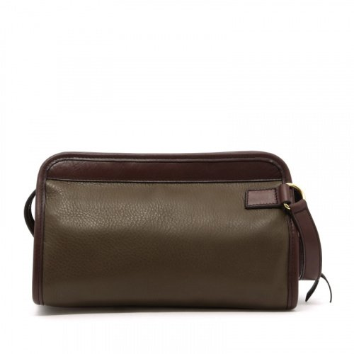 Small Travel Kit - Olive/Chocolate - Tumbled Leather in