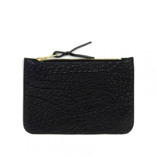 Small Zipper Pouch Black Bison / Maroon Leather in