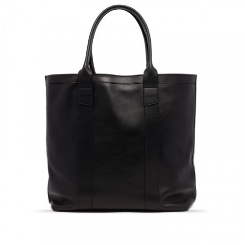 Tall Tote - Black - Tumbled Leather in